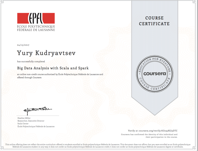 Coursera: Big Data Analysis with Scala and Spark